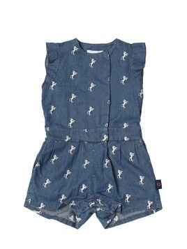 HORSES EMBROIDERED CHAMBRAY ROMPER