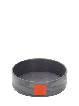 GOCCIA ROUND LEATHER & WOOD CONTAINER