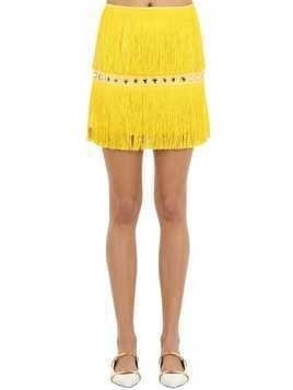 EMBELLISHED MINI SKIRT W/ FRINGES