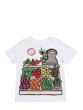 VEGETABLE PRINTED COTTON JERSEY T-SHIRT