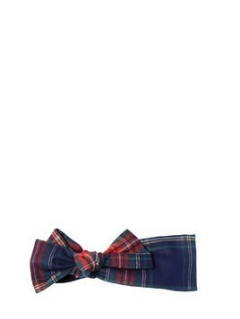 STRETCH PLAID HEADBAND W/ BOW