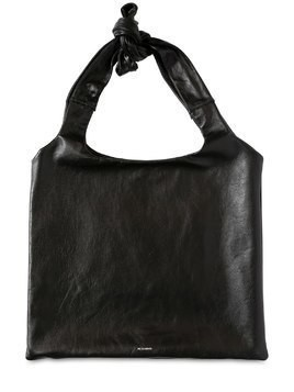 LOGO PRINTED LEATHER TOP HANDLE BAG
