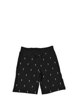 BOLTS EMBROIDERED COTTON SWEAT SHORTS