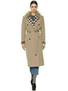 Canvas Trench Coat W/ Wool & Plaid