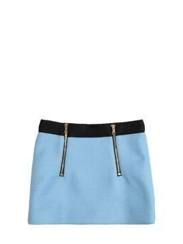 DOUBLE FACE WOOL BLEND MINI SKIRT W/ZIPS