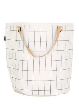 GRID HAND-PRINTED SMALL LAUNDRY BASKET