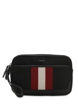 LOGO STRIPE TECH CANVAS TOILETRY BAG