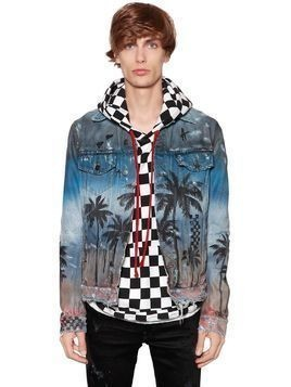 PALM AIRBRUSHED DENIM TRUCKER JACKET