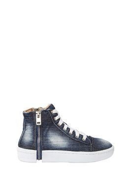 ZIP-ROUND DENIM HIGH TOP SNEAKERS