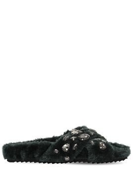 20MM EMBELLISHED FAUX FUR SLIDE SANDALS