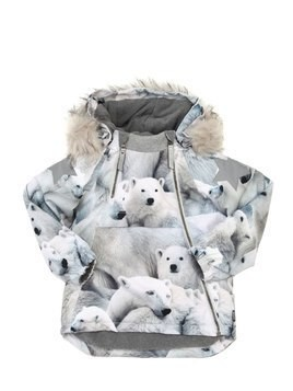 POLAR BEAR PRINT NYLON SKI DOWN JACKET