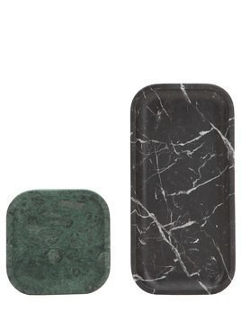 SET OF 2 PIETRA L MARBLE TRAYS