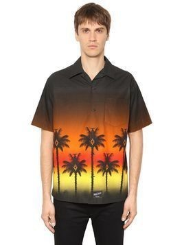 RED PALM PRINT POPLIN SHORT SLEEVE SHIRT
