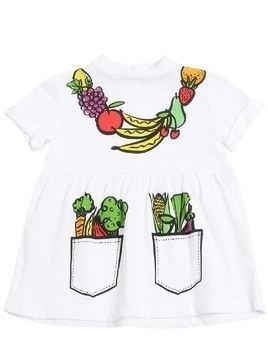 FRUITS NECKLACE COTTON JERSEY DRESS