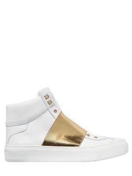 ELASTIC BAND&LEATHER HIGH TOP SNEAKERS