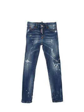 DESTROYED & PAINTED STRETCH DENIM JEANS