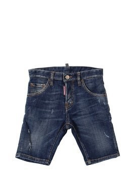 DESTROYED STRETCH COTTON DENIM SHORTS