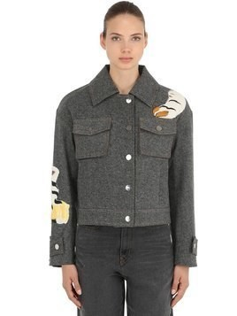 TIGER EMBROIDERED COTTON DENIM JACKET