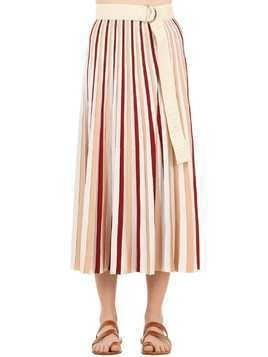 PLISSÉ STRIPED VISCOSE SKIRT