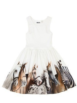 HORSE PRINT RIBBED COTTON DRESS