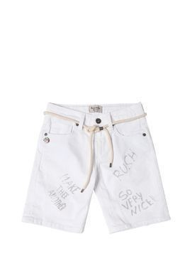 PRINTEDSTRETCH DENIM SHORTS