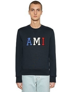 LOGO PATCH COTTON JERSEY SWEATSHIRT
