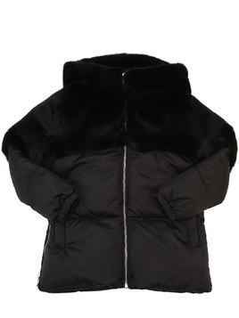 HOODED FAUX FUR & NYLON PUFFER JACKET