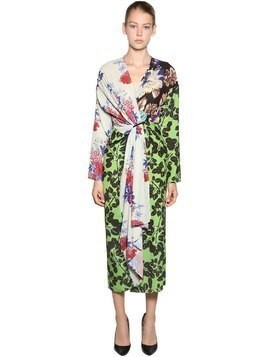 PRINTED PATCHWORK CREPE MIDI DRESS