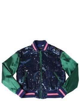 TWO TONE SEQUINED SATIN BOMBER JACKET