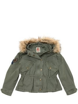 HOODED COTTON CANVAS PUFFER JACKET