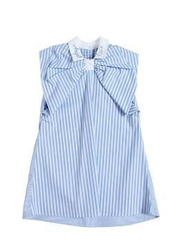STRIPED COTTON POPLIN DRESS W/ BOW