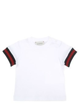 COTTON JERSEY T-SHIRT W/ WEB CUFFS