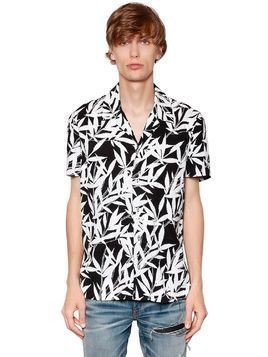 LEAVES PRINTED TENCEL BOWLING SHIRT