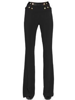 STRETCH VISCOSE CREPE FLARED PANTS