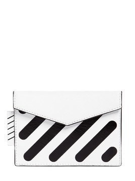 DIAGONAL STRIPES LEATHER CARD HOLDER