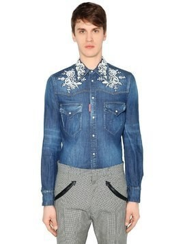 COTTON DENIM SHIRT W/ FLOWER EMBROIDERY