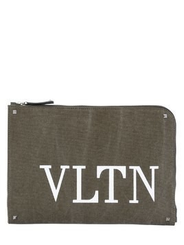 LOGO PRINT COTTON CANVAS POUCH