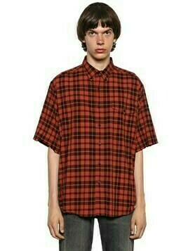 Washed Plaid Lightweight Flannel Shirt
