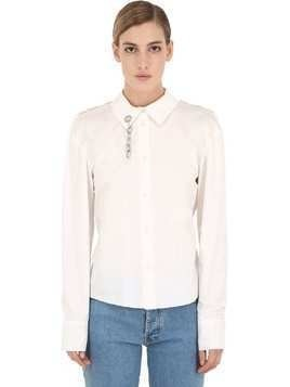 COTTON & TULLE SHIRT W/ CHAIN DETAIL