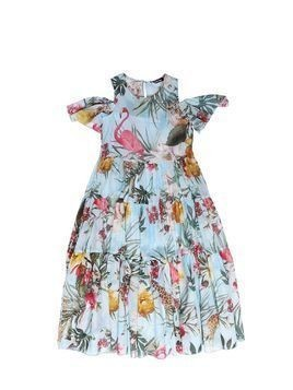 FLORAL PRINTED COTTON MUSLIN DRESS