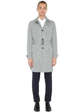 NYLON CHECK TRENCH COAT