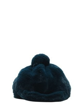 FAUX FUR HAT W/ POMPOM