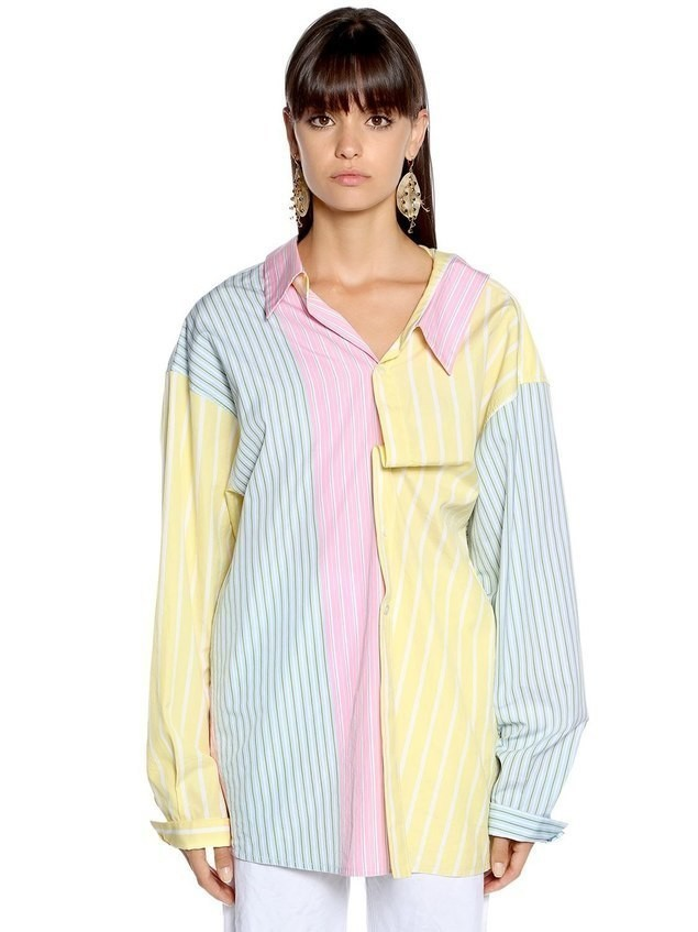 OVERSIZED PATCHWORK STRIPED POPLIN SHIRT