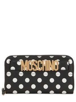 DOT PRINTED LEATHER ZIP AROUND WALLET