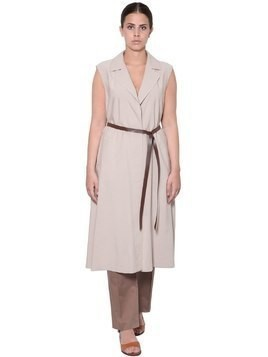 SLEEVELESS VISCOSE TWILL LONG DUST COAT