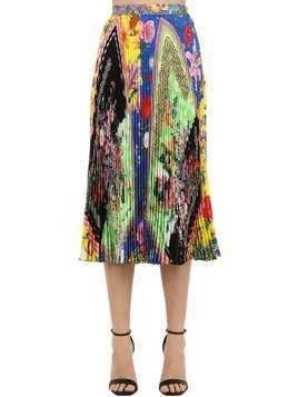 PRINTED SILK TWILL MIDI SKIRT W/ PLEATS