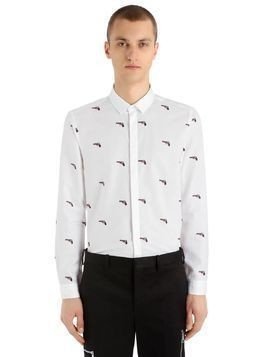 GUNS PRINTED COTTON BLEND POPLIN SHIRT