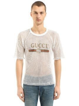 LOGO PRINTED COTTON MESH T-SHIRT