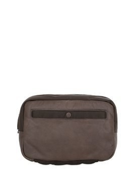 WAXED LEATHER&NYLON TOILETRY BAG