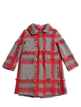 EMBROIDERED POMPOM CHECK WOOL KNIT COAT